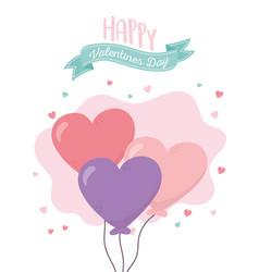 happy valentines day balloons shape hearts vector image
