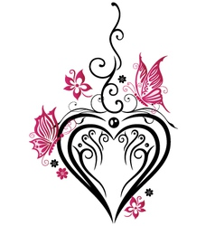 Heart butterflies vector