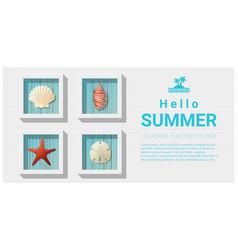 Hello summer background with sea creatures vector
