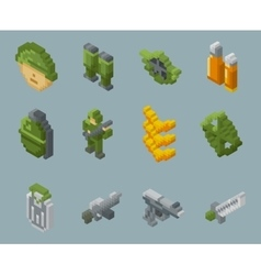 Isometric pixel soldiers and weapons icons vector