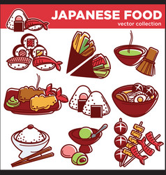 japanese food dishes icons for japan vector image