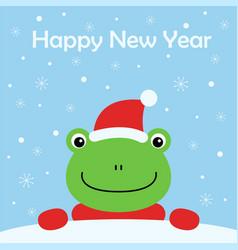 kawaii a cartoon frog with hat vector image