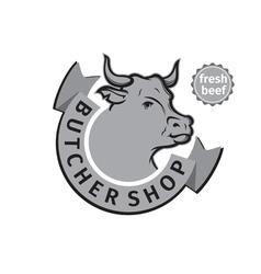 label of butcher shop vector image