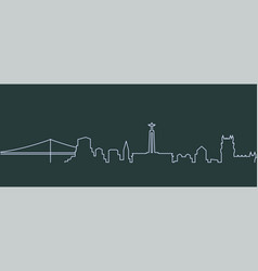 Lisbon single line skyline vector