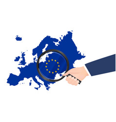 magnifying glass search on europe map vector image