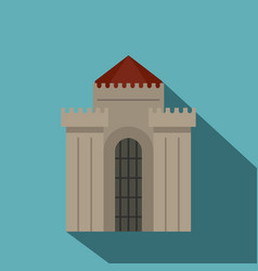 medieval building icon flat style vector image