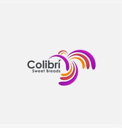 modern abstract colibri humming bird logo icon vector image
