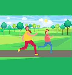 mother and daughter jogging in park vector image