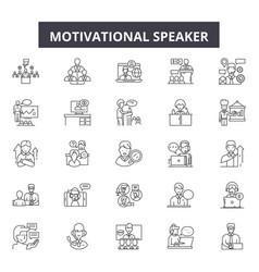 motivational speaker line icons signs set vector image