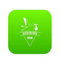 newborn stork icon green vector image