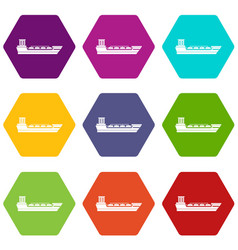 oil tanker ship icon set color hexahedron vector image