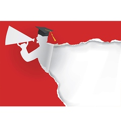 Paper silhouette of graduate vector