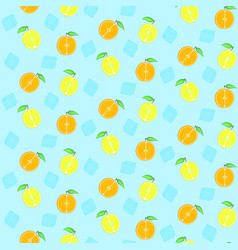 pattern with cute oranges lemons and ice cubes vector image