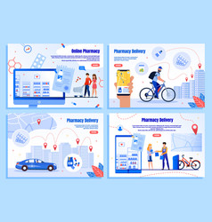 pharmaceutical goods delivery web banners vector image