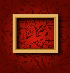 Picture wooden frame on vintage wall vector image