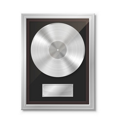 Platinum vinyl in frame on wall collection disc vector