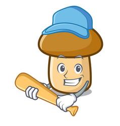Playing baseball porcini mushroom character vector