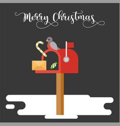 postbox and bird for christmas winter theme vector image
