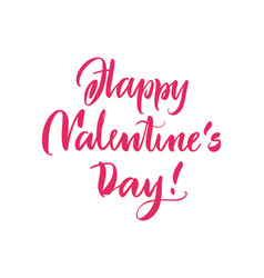 poster lettering happy valentines day pink vector image