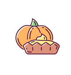 pumpkin tartlet rgb color icon vector image