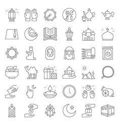 ramadan and eid mubarak celebration icon vector image