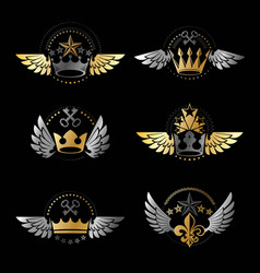 royal crowns and vintage stars emblems set vector image