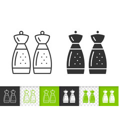 salt pepper shaker simple black line icon vector image