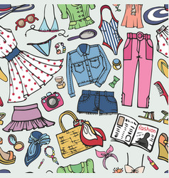 sammer fashion seamless patternwoman colored wear vector image
