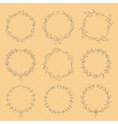set 9 hand drawn wreaths vector image