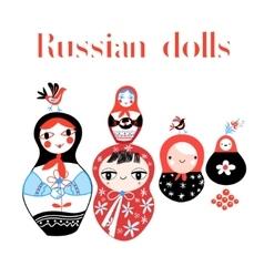 set russian dolls vector image