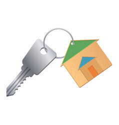 shiny silver keys with wooden trinket from dream vector image