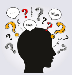 Silhouette human head with a lot of questions vector