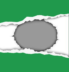 Snatched middle of green sheet of paper vector