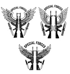 Special forces set assault rifles with wings vector