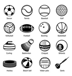 Sport balls equipment icons set simple style vector