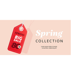 Spring big sale banner with red tag vector