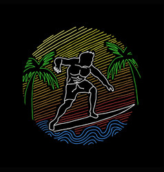 surfing line art vector image