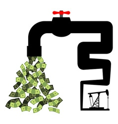 Tap with money Oil derrick pumps cash Revenue from vector