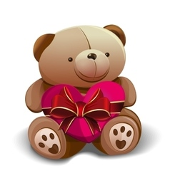 Teddy bear holding a pink heart tied with a red vector image
