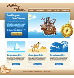 template for travel website vector image