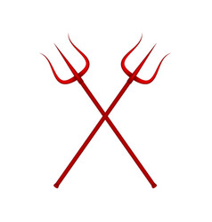 Two crossed tridents in red design vector