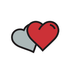 Two heart icon cartoon red color vector