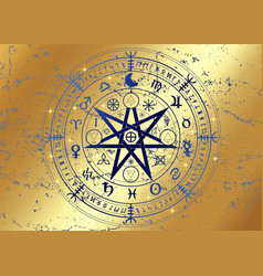 wheel year wicca gold astrological signs vector image