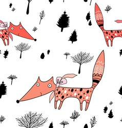 Winter pattern with trees and foxes vector
