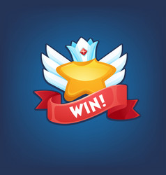 you win congratulation template with star crown vector image