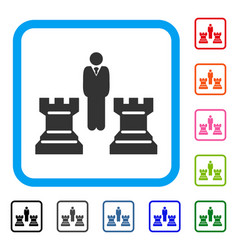 chess strategy framed icon vector image vector image