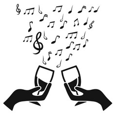 glass cup cheers with music note vector image
