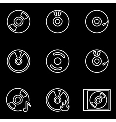 line cd icon set vector image