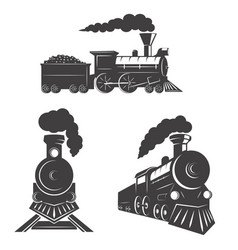 set of trains icons isolated on white background vector image vector image
