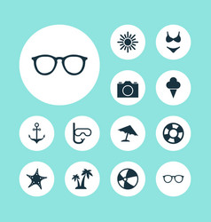 Sun icons set collection of video bead armature vector